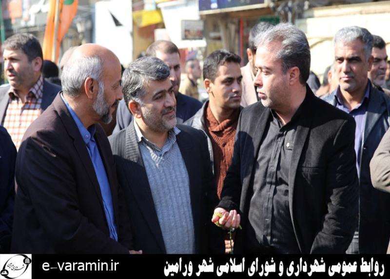 حضور مسئولین شهرداری و شورای اسلامی شهر ورامین در مراسم راهپیمایی ۱۳ آبان