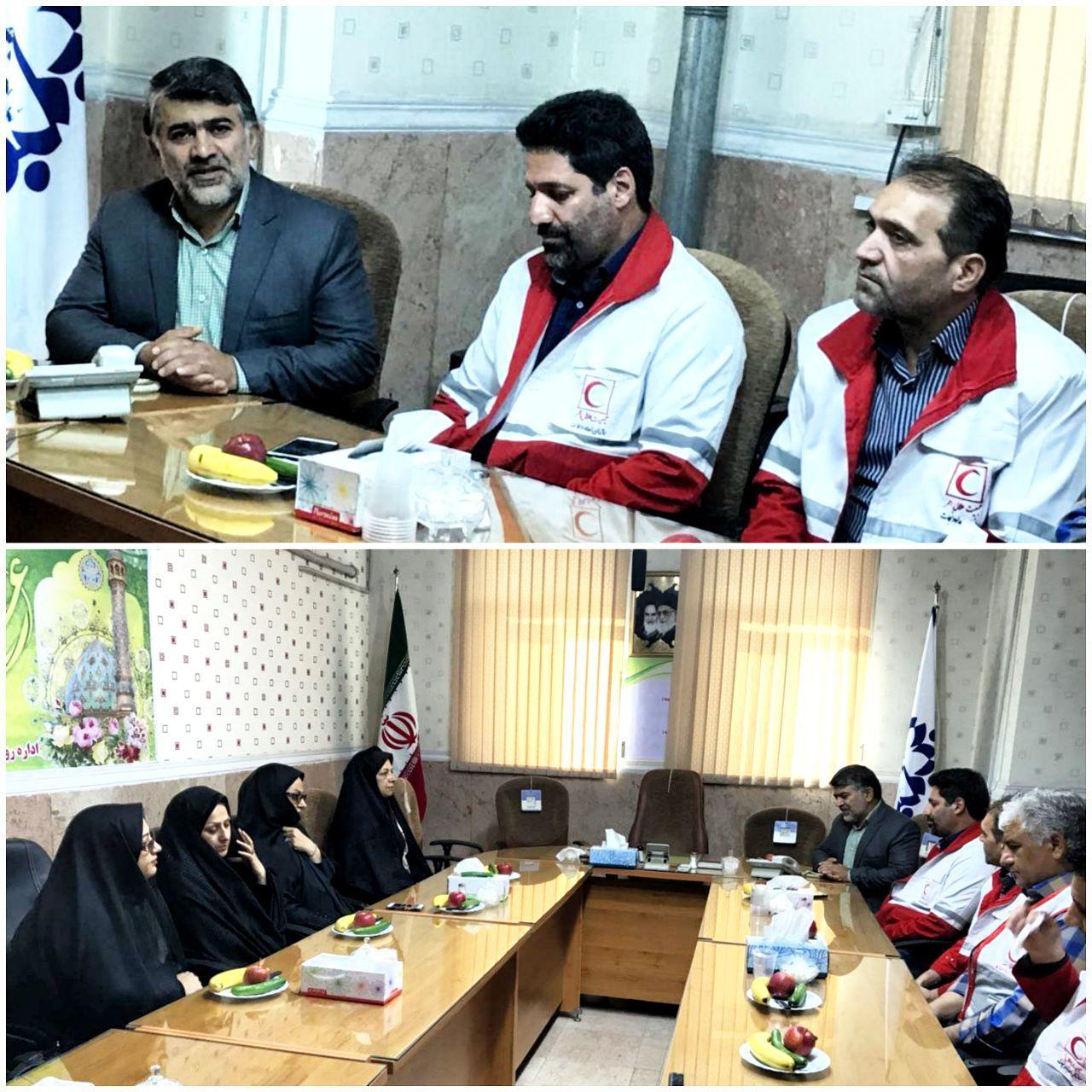 دیدار رئیس و پرسنل جمعیت هلال احمرباسید رضا احمدی رئیس شورای اسلامی شهر ورامین